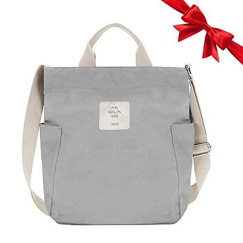 Gindoly Casual Handtasche Damen Canvas Chic Schultertasche Damen Henkeltasche Schulrucksack Große umhängetasche Tasche grau