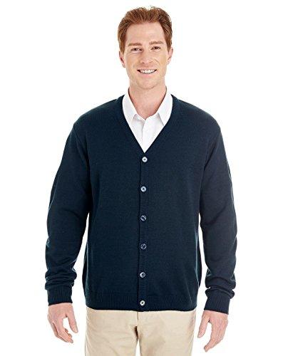Harriton Mens Pilbloc V-Neck Button Cardigan Sweater (M425) -DARK NAVY -XS