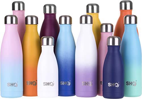 SHO Bottle - Vakuumisolierte, Doppelwandige Trinkflasche + Wasserflasche - Aus Hochwertigem Edelstahl - 24 Std Kühlen & 12 Std Warmhalten - BPA frei (Stainless Steel 2.0 - Powder Coated, 375ml)