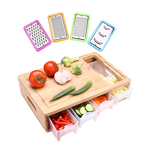 HIOHI Large Bamboo Cutting Board with trays/container/slicers/drawers and lids,Meal Prep Cutting Board,Chopping Board with Tray for Easy Food Prep and Cleanup