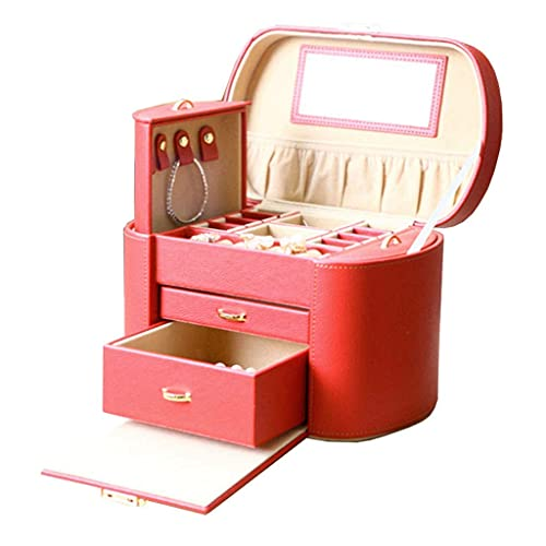 Organizador portátil para joyas con espejo grande y 2 cajones para niñas y mujeres, collares, pendientes, anillos, relojes, caja de regalo (rojo)