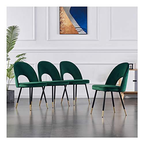 Juego de 4 sillas de comedor, de cocina, de salón, asiento y respaldo mullidos de terciopelo suave, patas de metal doradas, (verde, 4)
