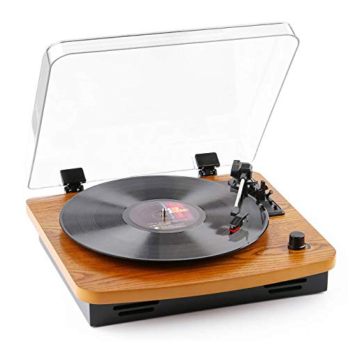 Belt-Drive Wood Turntable 3 Speed Retro&Modern DJ Vinyl LP Records Player with Stereo Speakers Supporting Vinyl to MP3 Converter (T202PC)