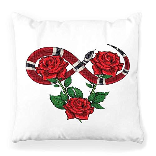 Funda de almohada decorativa cuadrada de 45,7 x 45,7 cm, diseño de serpiente, color negro, decoración colorida, dibujo floral, decoración del hogar con cremallera