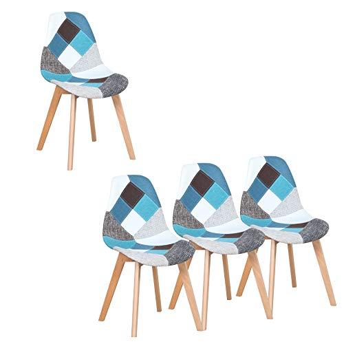 Set di 4 Sedie da Pranzo Patchwork Imbottite in Tessuto per Cucina, Soggiorno e Ristorante (Blu)
