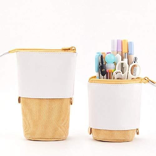 El tenedor telescópico del lápiz de pie, emerge la caja de los efectos de escritorio del bolso de la bolsa del lápiz con los bolsos cosméticos de la cremallera (Yellow)