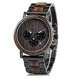 メンズ 木製腕時計 ビジネス/カジュアルウォッチ 黒檀&ステンレススチール クロノグラフ おしゃれなデザイン