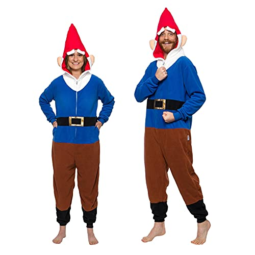 Funziez! Gnome Costume and Hat Adult Plush Fantasy One-Piece Pajama (Blue, X-Large)