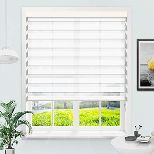 """MiLin Zebra Blinds Window Blinds and Shades Dual Layer Roller Shades with Pull Chain, Custom Cut to Size, Sheer or Privacy Light Control, Day and Night Window Curtains - Snow White 73 1/4"""" W x 60"""" H"""