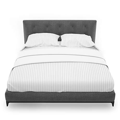 Highliving - Sábana bajera ajustable (satén de 300 hilos, 100% algodón egipcio), diseño de rayas, color blanco, Blanco, Doublé