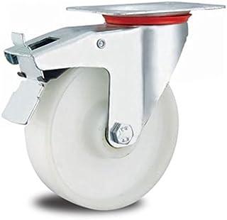Rol bokwiel 200 mm zwenkwiel transportrol looprol wit kunststof kunststof kunststof (rolwiel + rem 200 mm)