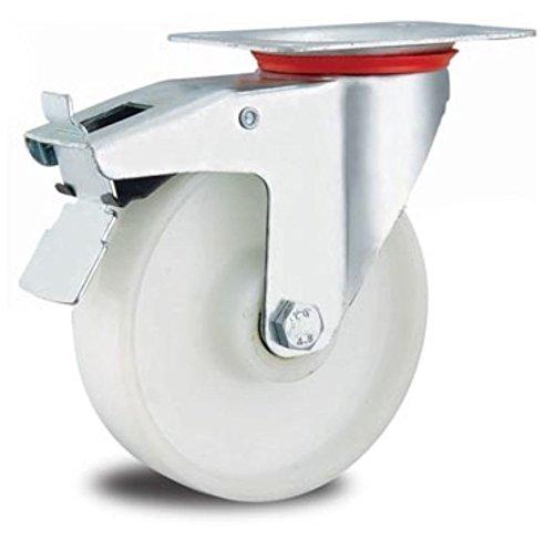 Rolle Bockrolle 80mm Lenkrolle Transportrolle Laufrolle wei/ß Kunststoff Plastikrolle Bockrolle 80 mm