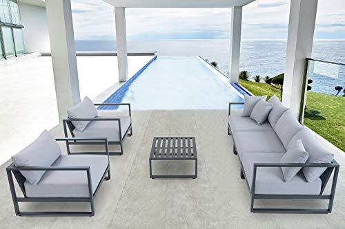 OUTFLEXX - Mobiliario de salón (Aluminio y poliéster, 85 x 65 cm, 6 Piezas, 5 Personas, Incluye Cojines), Color Gris