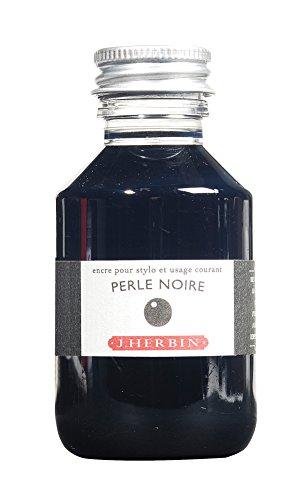 J. Herbin Fountain Pen Ink - 100 ml Bottled - Perle Noire