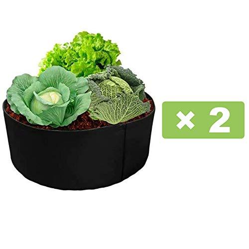 Niet-geweven bloempot plantzak, [2 stuks] Verhoog de plantzak, Ademende vilt plantengroei zak, Herbruikbare bloem groeiende container