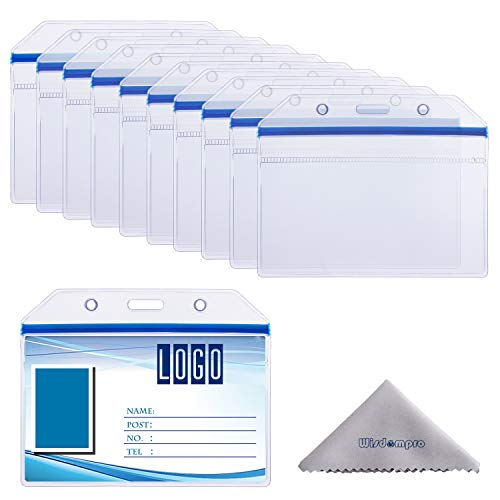 10 Pack Horizontal Heavy Duty Clear ID Badge Holder Card Holder with Resealable Zip for Multiple Cards (Vinyl PVC) by Wisdompro - Blue Zip
