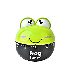 Fan-Ling Kitchen Cooking Countdown 60 Mins Steel/Plastic Mechanical Timer Alarm,Cute Mini Flog Count-Down Up Clock Alarm,Home Kitchen Chef Mini Count-Down Timer,Cooking Time Reminder (Green:Frog)
