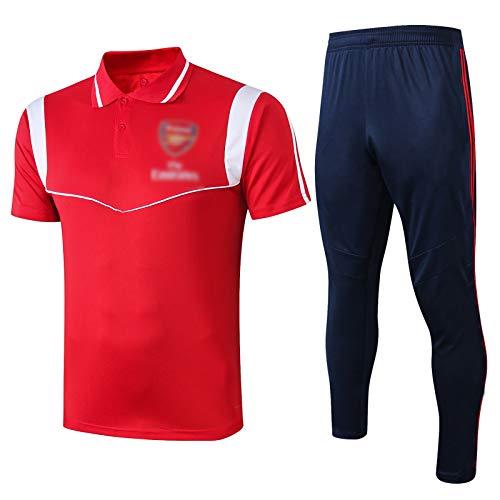 LXZ 19-20 Arsenal Football Training Anzug, Sportswear Frühling und Sommer Revers Kurzarm Polo Anzug Training Atmungsaktiv und Schnelltrocknung (S-XXL) red-S