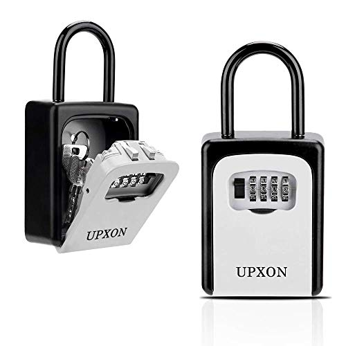 Key Lock Box, UPXON Large Capacity Key Storage Box with Resettable Code, 4 Digit Combination Lock box for Spare Keys, Waterproof Wall Mount Key Box for Home, Hotels, Airbnb and Schools 1 Pack