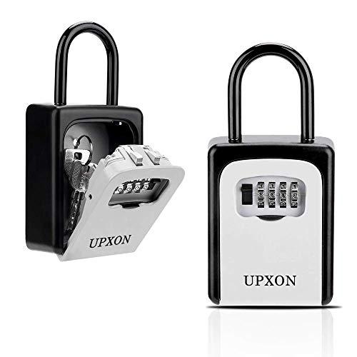 Key Lock Box, UPXON Large Capacity Key Storage Box with Resettable Code, 4 Digit Combination Lock Box for Spare Keys, Waterproof Wall Mount Key Box...