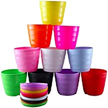Rainbow 4.3 inch Set of 10 Pack Multicolored Plastic Seedling Flower Plant Pots/Container with Saucer Pallet.