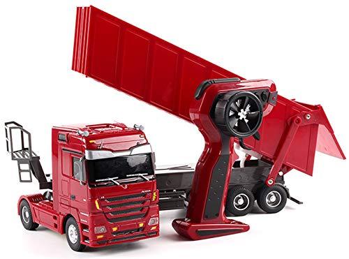 Xbswhm Camión Volquete de 10 Ruedas RC De 2.4ghz, Camión Articulado de Control Remoto, Camiones de Construcción con Luz y Sonido para Niños, Adultos, Juguete Divertido,Rojo,800 mA
