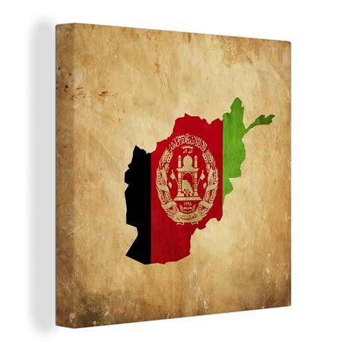 Leinwandbild - Illustration der Flagge von Afghanistan in der Form des Landes - 40x30 cm