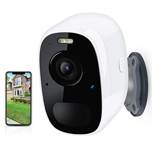 Camera Surveillance WiFi sans Fil HD 1080P, Batterie Rechargeable Intégrée, Vision Nocturne, Etanche IP65