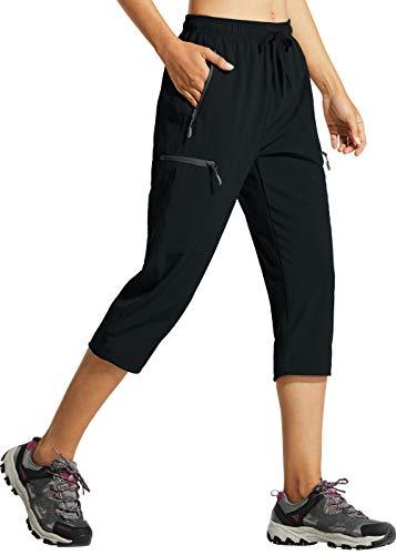 Libin Women's Quick Dry Hiking Capri Pants Lightweight Cargo Cropped Pants Water Resistant Outdoor Casual, Black XL