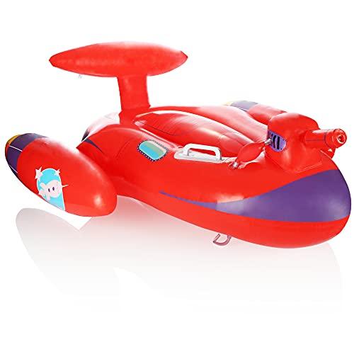 com-four® Schwimmfigur im Raumschiff Design - Wellenreiter aufblasbar für Kinder - Luftmatratze mit Griff und Wasserkanone - Badefigur für Strand und Pool (Rotes Raumschiff)