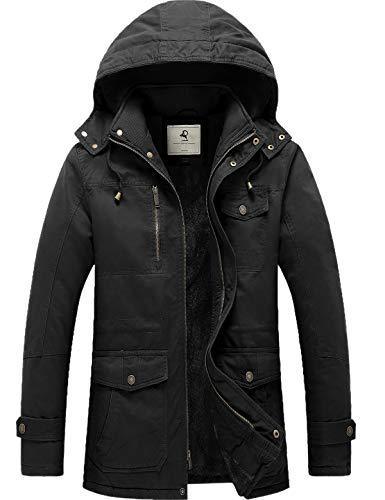 Uoiuxc Men's Winter Coat Warm Thicken Parka Jacket with Detachable Hood (Black,Small)