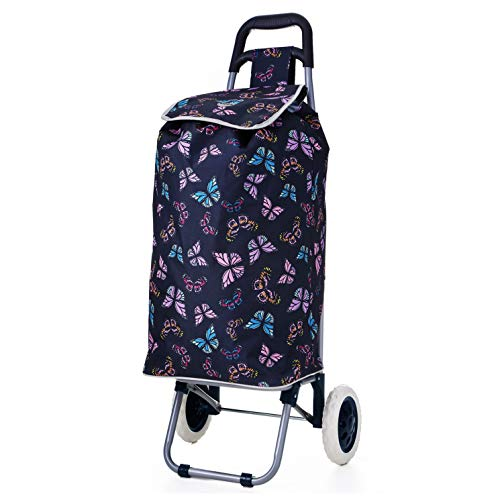 Hoppa 47L Lightweight Shopping Trolley, Hard Wearing & Foldaway for Easy Storage with 3 Years Guarantee (Navy Butterflies)