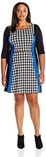 Star Vixen Women's Plus Size Elbow Short Knit Skater Dress with Wide Waistband and Surplice Bodice