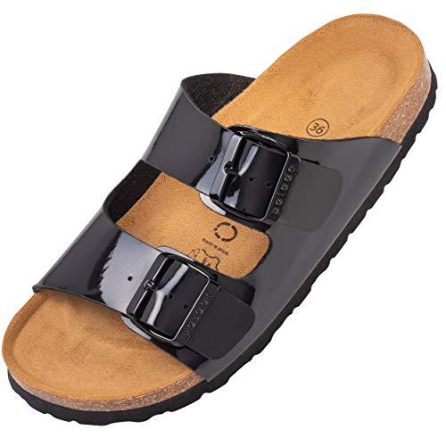Palado® Damen Sandale Korfu   Made in EU   Pantoletten in 11 modischen Farben   2-Riemen Sandaletten mit Natur Kork-Fussbett   Herren Hausschuhe mit Leder-Laufsohle Schwarz Lack 40 EU