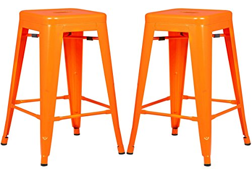 Poly and Bark Trattoria 24 Inch Counter Height Industrial Metal Bar Stool in Orange (Set of 2)