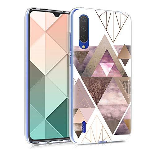 kwmobile Funda Compatible con Xiaomi Mi 9 Lite - Carcasa de TPU y triángulos en Rosa Claro/Oro Rosa/Blanco