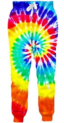 Loveternal Tie Dye Pantalones 3D Impresos Divertidos Ocasionales Paint Sweatpants Pants para Hombres XXL