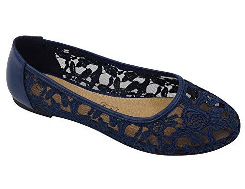 Greatonu Greatonu Damen Geschlossene Ballerinas Spitze Flache Sandalen Blau Größe 41EU