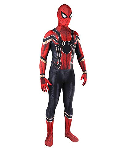 McMiller Iron Spider The Amazing Spider Man Costumes Adult Kids Unisex Lycra Spandex Halloween Cosplay Suits, Adult-Large