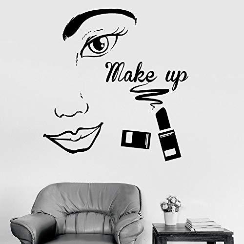 Tianpengyuanshuai Make-up Wandtattoo Vinyl Aufkleber Beauty Salon Gesicht Kosmetische Lippenstift Kunst 68X70cm