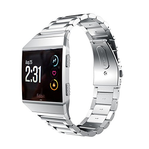 Fitbit Ionic Bands Accessories,Fitbit Ionic Stainless Steel Metal Link Wristband Replacement Strap with Folding Clasp for Fitbit Ionic (Silver)