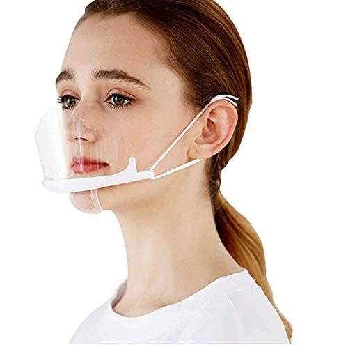 PANGHU Protectores Faciales de plástico Reutilizable para higiene Sanitaria, Transparente y Permanente, antivaho, Visor Anti Agua y Comida para la Boca