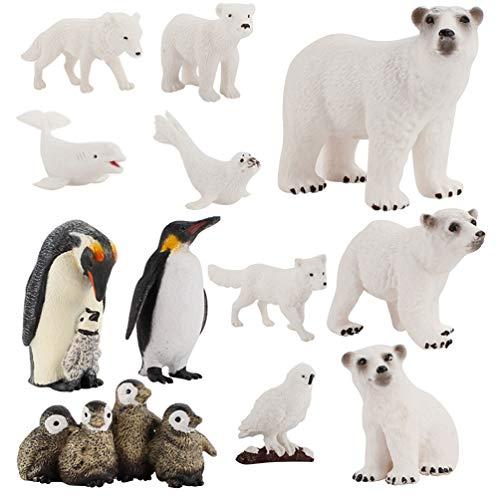 Gadpiparty 12 Unids Oso Polar Figuritas Juguete Set Realista Plástico Animales Polares Figuras Familia Set Juguete Educativo Cake Toppers Regalos de Cumpleaños