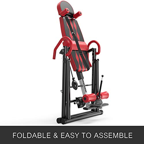 Popsport Premium Foldable Gravity Inversion Table 4.8ft to 6.1ft 300lbs Capacity Waist Inflatable Adjustment with Protective Belt Back Therapy Fitness (Red)