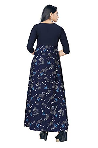 New ethnic 4 you Women's Western Crepe Fit and Flare Maxi Dress/Gown (Multicolour, Small)