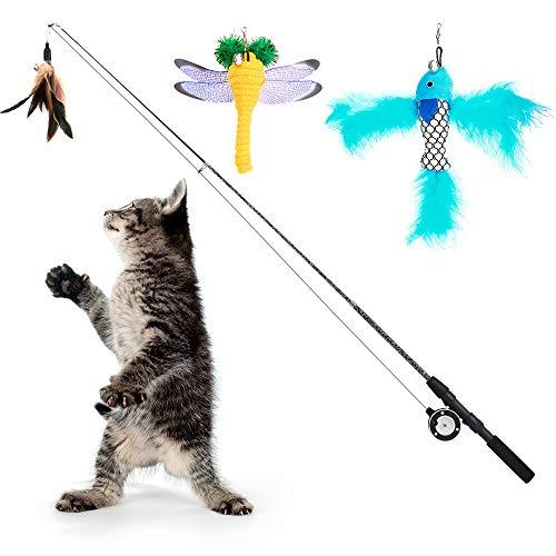 Pawaboo Interaktive Katzenspielzeug, Einziehbar Katzenangel mit 3 Ersatz Angelköder aus Federn und Glocken, Einstellbare Schnurlänge, Feder-Teaser für Katzen Kätzchen Spaß
