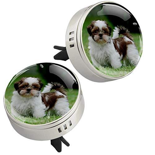2 unidades Shih Tzu Dog Puppy Print Car Aromaterapia Difusor de aceites esenciales, medallón con cierre magnético con clip de ventilación, 4 almohadillas de repuesto (plateado)