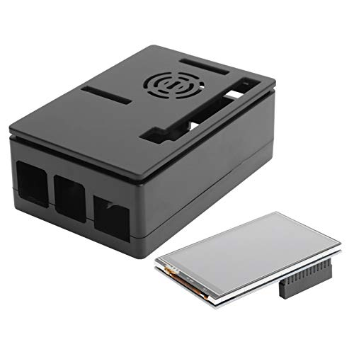 T opiky para Raspberry Pi 4B / 3B + / 3B / 2B Kit de Carcasa con Pantalla táctil LCD de 3,5 Pulgadas y Ventilador de refrigeración de Soporte(Black)