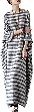 "YESNO JG1 Women 52"" Long Maxi Loose Striped Dress Arab Caftan Casual Plus Size 3/4 Sleeve Boat Neck"