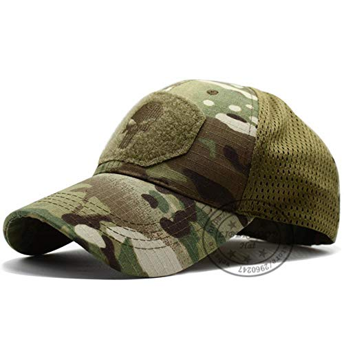 WULIAN Punisher Skull Multicam Bedienerkappe Herren Mesh Summer Fitted Tactical Cap Spezialeinheit Sniper Swat Hat Place Patch Od, Skull Camo Green